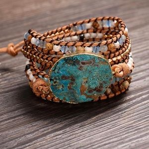 Handmade Leather Jasper Stone Beaded Wrap Bracelet
